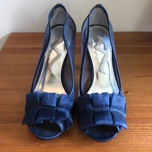 Nina navy blue mesh detail heels